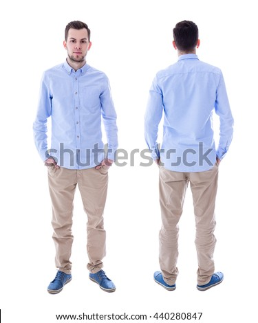 front and back view of young man isolated on white background - stock photo