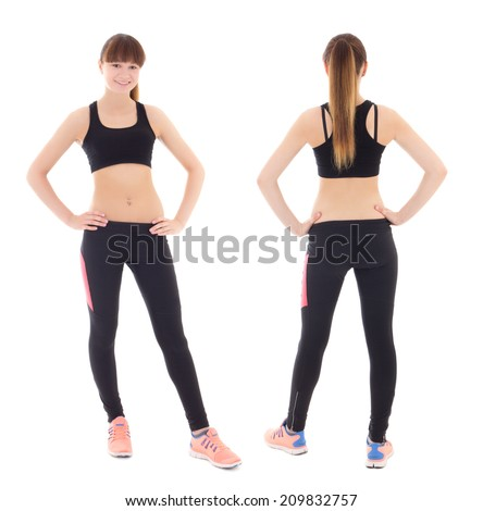 front and back view of young woman in sports wear isolated on white background - stock photo