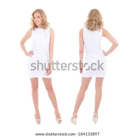 front and back view of young woman in white dress posing isolated on white - stock photo