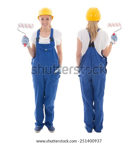 front and back view of young woman painter in blue builder uniform with paint brush isolated on white background - stock photo
