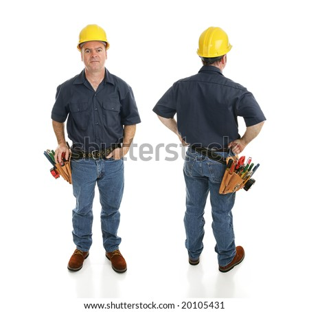 Front and back views of a construction worker.  Full body isolated on white. - stock photo