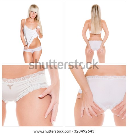 Front and rear view of an attractive underwear model wearing white underwear, isolated on white studio background, four photos - stock photo