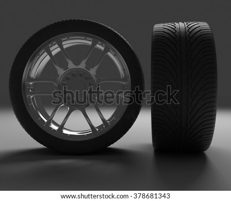 Front and side view of an automobile wheel. 3d render illustration on dark background - stock photo