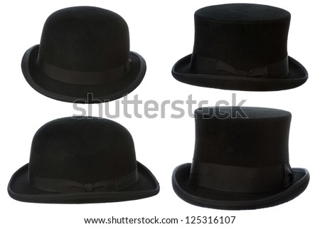 front and side view of top hat and bowler isolated on white - stock photo