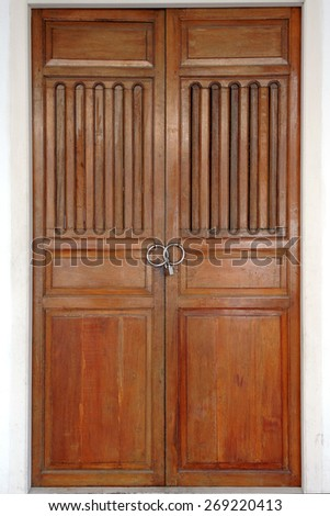 Front Chinese wood door  - stock photo