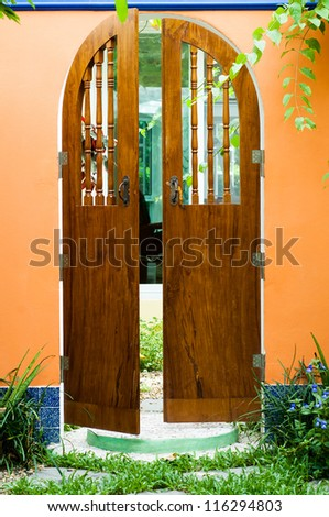 Front door. - stock photo