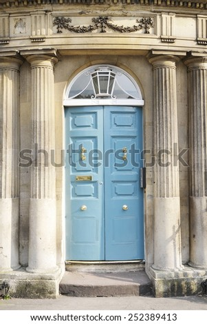 Front Door of a Beautiful Old English House - stock photo