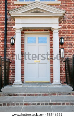 Front Door of a Red Brick London Town House - stock photo