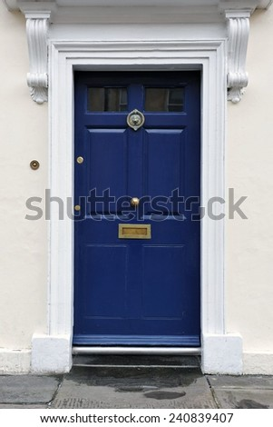 Front Door of an Old English Town House - stock photo
