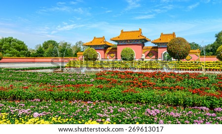 Front door of Beiling Park. Located in Shenyang City, Liaoning province, China. - stock photo