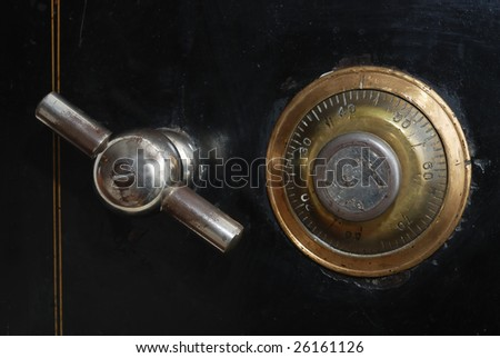 front door of old vintage safe, 19 century - stock photo