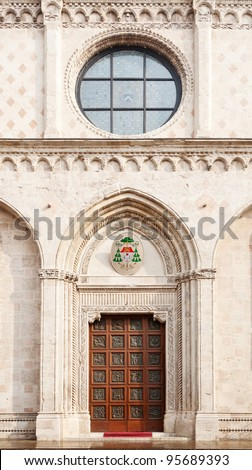 Front door of Vicenza's cathedral - stock photo