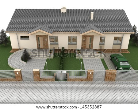 Front elevation of the house, computer visualization. - stock photo