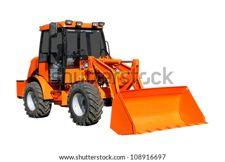 Front-end loader isolater over white background - stock photo