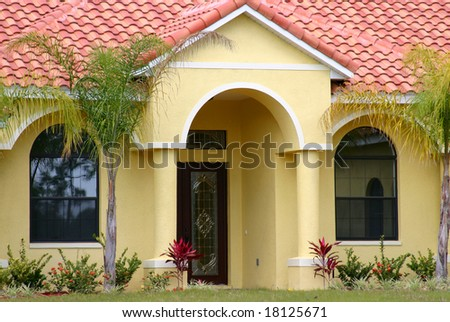 Front entrance of a middle income home in Florida. - stock photo