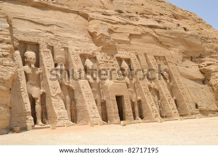 Front facade and entrance to the Temple of Nefertari at Abu Simbel - stock photo