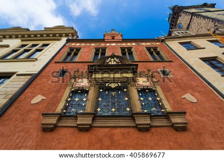 Front facade of Town Hall on Old Town Square in Prague - stock photo