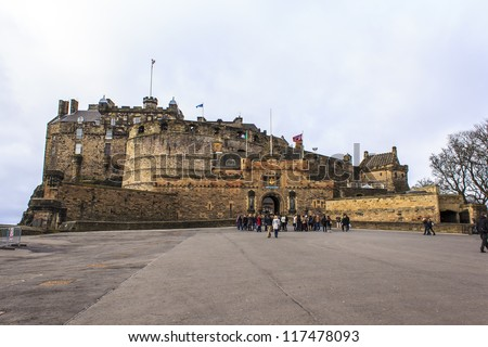 Front Gate of the Castle of Edinburgh - stock photo