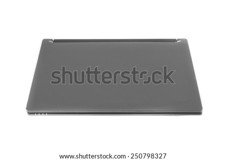 Front laptop isolated on white background - stock photo