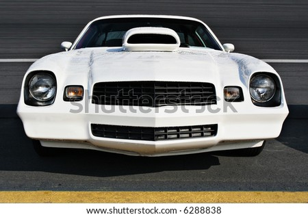 Front of customized 1970's model Camero - stock photo