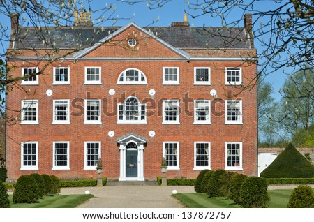 Front of Georgian Mansion - stock photo