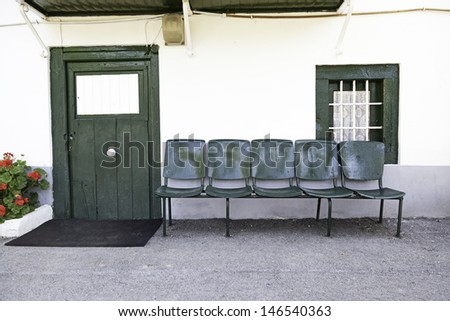 Front of house, detail of an old house in an old Spanish village - stock photo