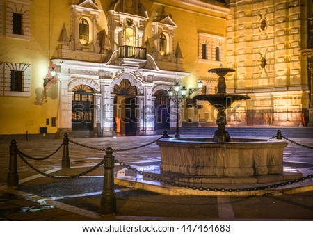 Front of San Francisco church in Lima, Peru. - stock photo