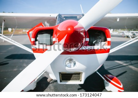 Front of small airplane - stock photo