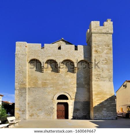 Front of the church at Saintes Maries de la Mer, Notre Dame de la Mer  - stock photo
