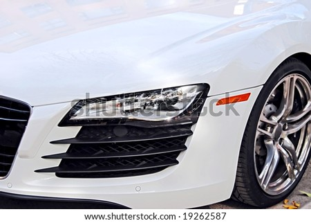 Front of white sport car - stock photo