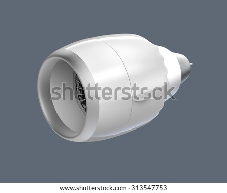 Front perspective view of a jet turbofan engine isolated on gray background.  Clipping path available. - stock photo