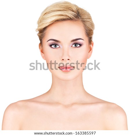Front portrait of the woman with beauty face - isolated - stock photo
