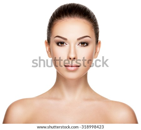 Front portrait of the woman with beauty face - isolated on white background - stock photo