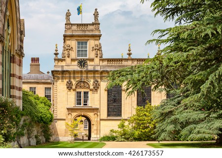 Front Quadrangle of Trinity College. Oxford University, Oxford, England, UK - stock photo