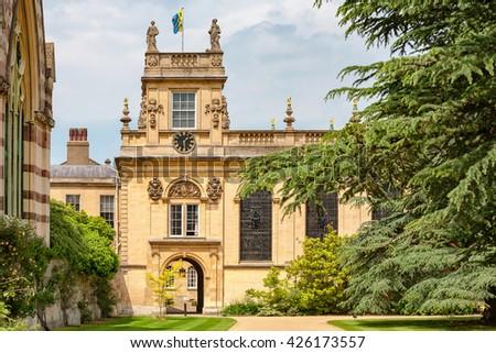 Front Quadrangle of Trinity College. Oxford University, Oxford, England, UK - stock photo