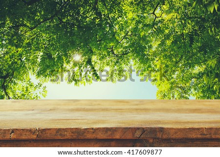 front rustic wood boards and abstract trees background. vintage filtered - stock photo