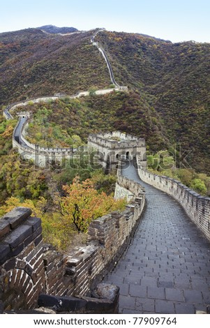 Front shoot of the Great Wall - stock photo