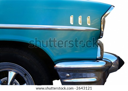 Front-side closeup of a classic car, isolated on white - stock photo