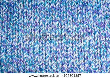 front side of blue knit pattern - stock photo