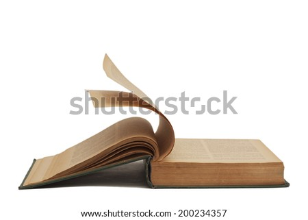 front side open old book with old yellow pages and flippin pages - stock photo