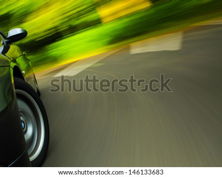 Front side view of sport car in turn. - stock photo