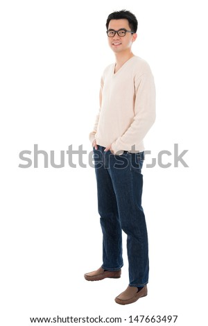 Front view full body casual Asian man standing isolated on white background - stock photo