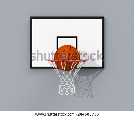 front view of a basketball hoop and a ball falling through the hoop (3d render) - stock photo