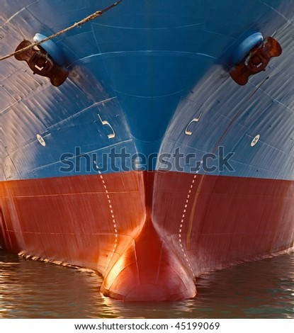 front view of a big ship - stock photo
