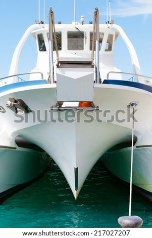 Front view of a catamaran - stock photo