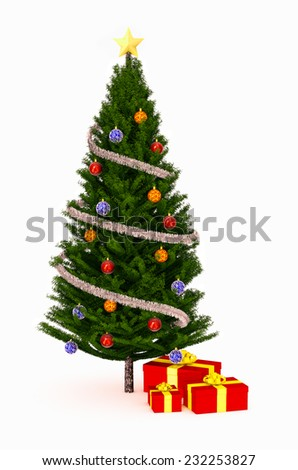 front view of a Christmas tree with some gift boxes (3d render) - stock photo