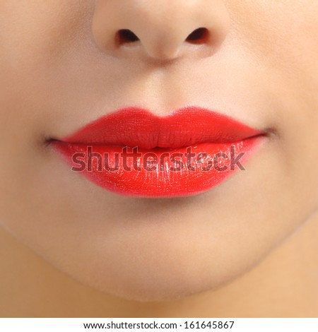 Front view of a close up of a red woman lips isolated on a white background               - stock photo