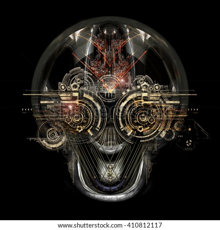 Front view of a futuristic cyborg face, 3D illustration - stock photo