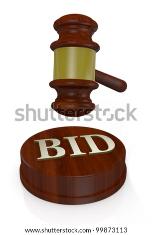 front view of a gavel, like those used on auctioning with the word bid (3d render) - stock photo