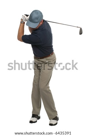 Front view of a golfer during his back swing with an iron. - stock photo